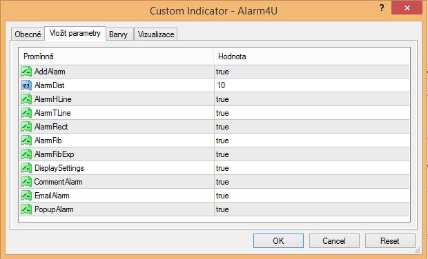 Ukázka nastavení indikátoru Alarm4U