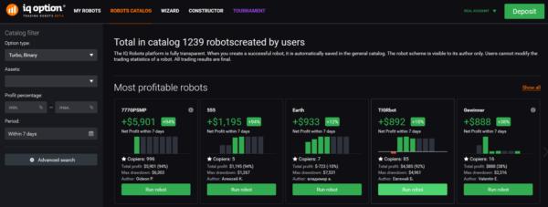 iqoption katalog robotů