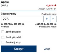 Nakupování akcií Apple u Plus500