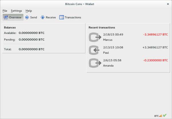Ukázka jednoduché základní peněženky bitcoin core.