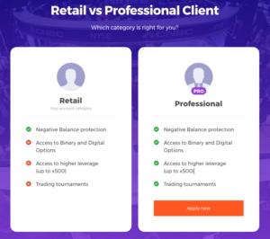 rozdíly profesionální klient a retail klient