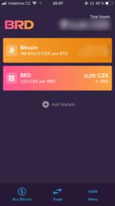 Bread Wallet úvodní obrazovka