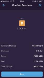 Nákup kryptoměny přímo v aplikaci