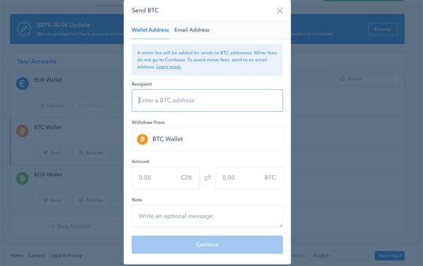 Odesílání kryptoměn z peněženky coinbase