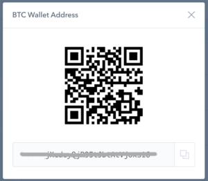 Zobrazení adresy pro příjem kryptoměny u coinbase