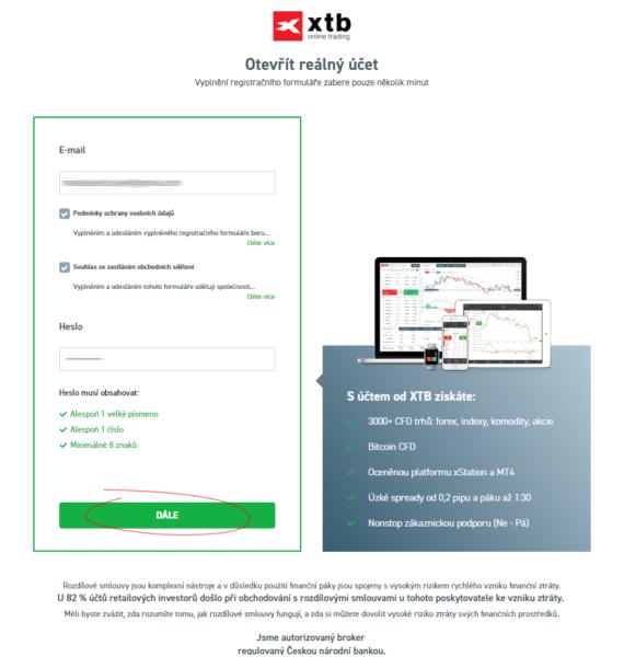 XTB broker registrace - krok 2
