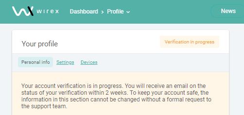 wirex verification