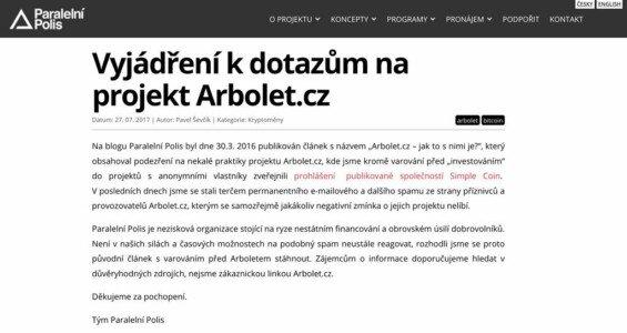Vyjádření na Arbolet od Paralelní polis