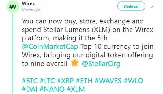 Tweet Wirexu o spuštění XLM (zdroj: Twitter)