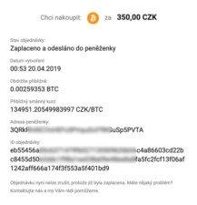 detail odelsání objednávky kryptoměny u bitbeli