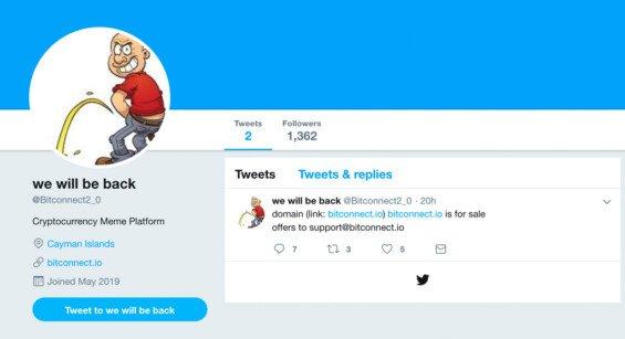 twitter účet bitconnect 2.0