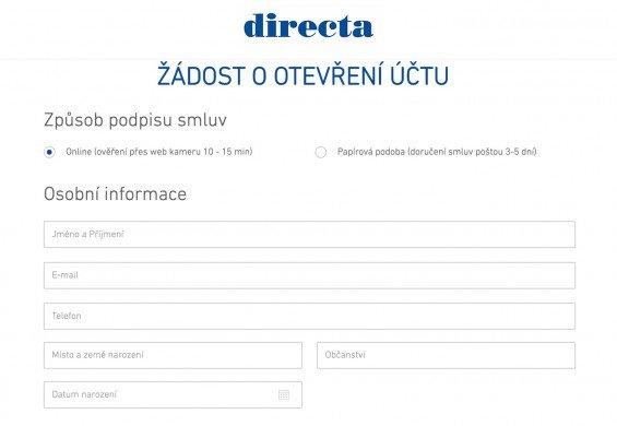 Online registrační formulář