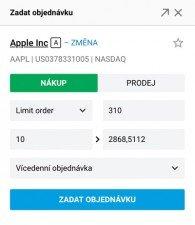formulář pro vytvoření objednávky (nákup či prodej)