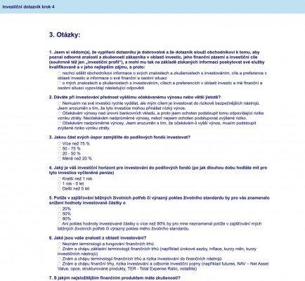 eBroker investiční dotazník