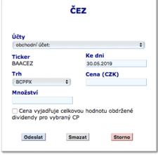 Formulář pro nákup akcií u Fio banky