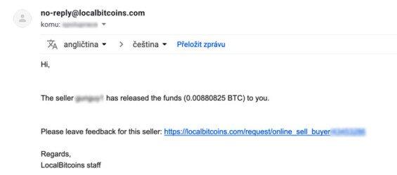 úspěšný nákup (směna) bitcoinů na localbitcoins