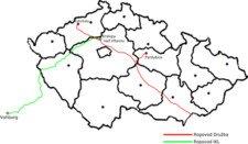 Mapa ropovodů do České republiky