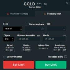 Informace o CFD obchodě na zlato u XTB