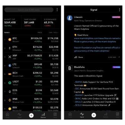 Uživatelské rozhraní aplikace Blockfolio
