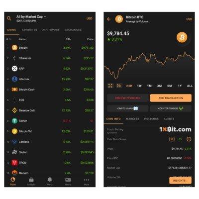 Uživatelské rozhraní aplikace Coin Stats