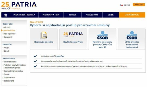 patria finance zalozeni uctu