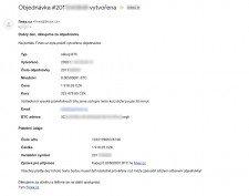 Email s instrukcemi k platbě