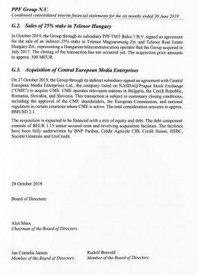 Výňatek z pololetní zprávy PPF