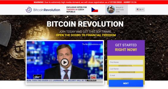 Samotný web Bitcoin Revolution nevzbuzuje moc důvěry.