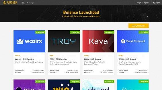 Seznam posledních proběhlých IEO na Binance Launchpadu