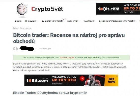 Český web CryptoSvět.cz láká uživatele k registraci na Bitcoin Trader.