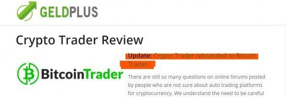 Zahraniční podvodný web informoval o změně jména Crypto Trader na Bitcoin Trader.