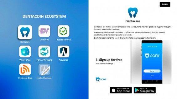 webové stránky pro prodej tokenu dentacoin