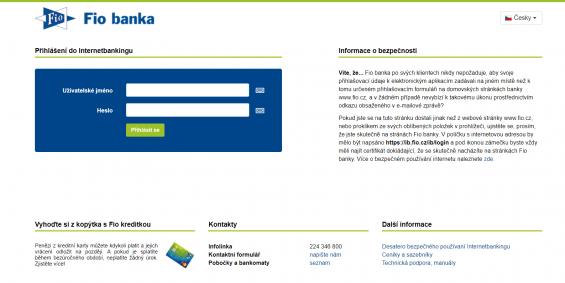 Fio Internetbanking prihlaseni