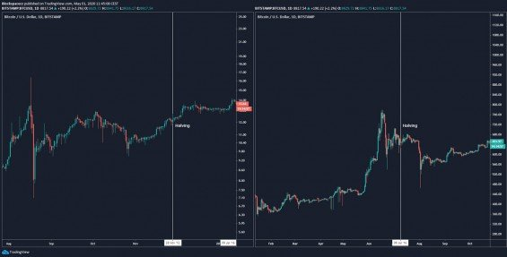 Vývoj ceny během předchozích halvingů