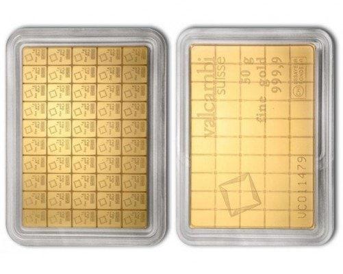 Dělitelný zlatý slitek o hmotnosti 50 gramů.