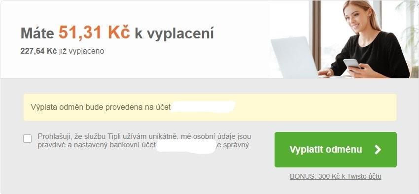 Výplata odměn na účet je u Tipli jednoduchá. (zdroj: Tipli.cz)