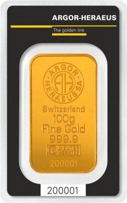 Zlatý slitek Argor Heraeus.
