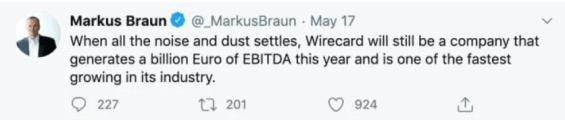 Tweet Markuse Brauna z května 2020, kde stále popírá vážnost situace (