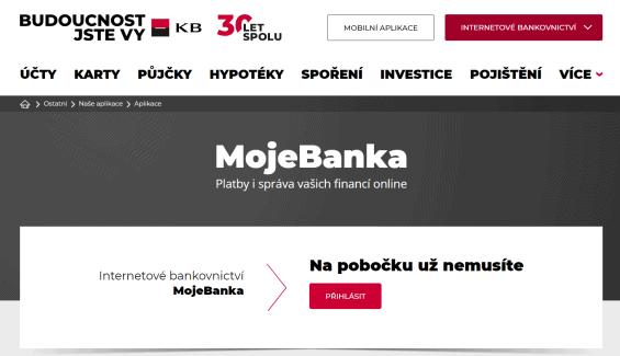 Přihlášení do internetového bankovnictví Moje banka.