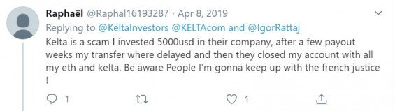 Někteří uživatelé zmiňují, že jim byl zrušen účet bez vrácení kryptoměn, které do projektu vložili. (zdroj:Twitter)