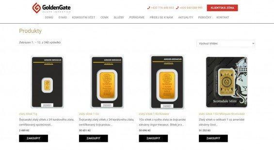 Náhled na několik z nabízených produktů - zlaté slitky