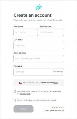 Registrační formulář na burzu gemini