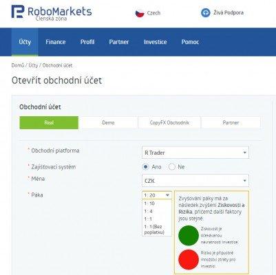 Otevření obchodního účtu u RoboMarkets