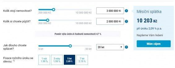ČSOB hypotéka kalkulačka. Zdroj: Csob.cz