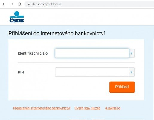prihlaseni do internetoveho bankovnictvi csob