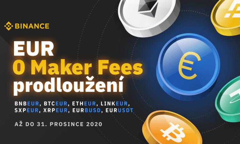 Binance snižuje poplatky pro obchodníky s EUR